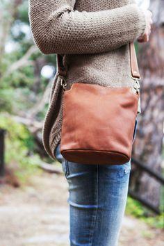 Small COWHIDE Leather tote bag // Leather handbag // by KURTIK