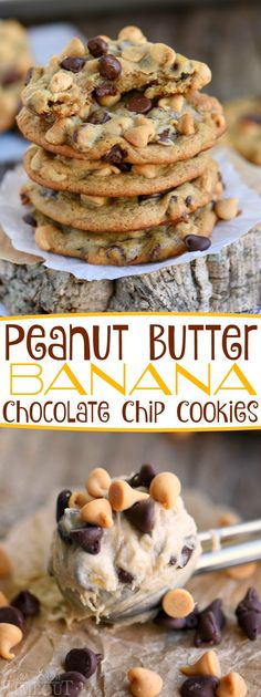 Got ripe bananas? These easy Peanut Butter Banana Chocolate Chip Cookies are WAY more fun than making banana bread and so delicious too! Super soft and absolutely amazing! // Mom On Timeout #peanutbutter #banana #chocolatechip #chocolatechipcookies #chocolate #cookie #cookies #recipe #dessert #ripebananas #momontimeout