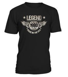 # Legend since 1980 birthday t-shirt .  cool custom designed legend since 1980 birthday t-shirts, shirts & hoodies are also available for men and women. A great birthday t-shirt gift for them born in 1980.