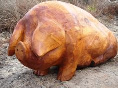 Carved wood Farm Yard sculpture by artist Nigel Sardeson titled: 'Fat Pig (Jolly Carved Wood life size sculptures/statues/carvings)'