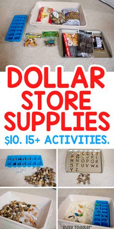 Dollar Store Activity Supplies You Need to Buy - Busy Toddler - Dollar Store Activity Supplies - Indoor Activities For Toddlers, Activities For 2 Year Olds, Toddler Learning Activities, Infant Activities, Quiet Time Activities, Teaching Toddlers Letters, Preschool Activities At Home, 3 Year Old Preschool, Tactile Activities