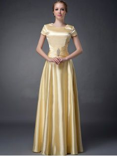 Jewel A-line Floor-length Silk like Satin Mother of The Bride Dress - US$94.99