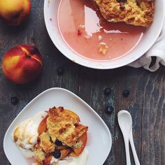 nectarine cobbler with a dash of blueberry Nectarine Cobbler, Blueberry, Food Photography, Breakfast, Instagram Posts, Photos, Morning Coffee, Pictures, Cooking Photography