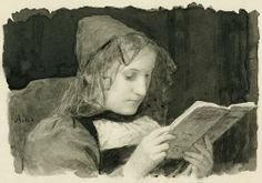 Young woman reading by Albert Anker (1831-1910)