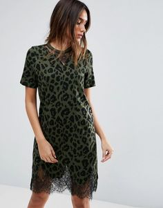 Get this Asos's cotton dress now! Click for more details. Worldwide shipping. ASOS T-Shirt Dress with Lace Inserts in Leopard Print - Green: Dress by ASOS Collection, Soft-touch jersey, Crew neck, Sheer lace inserts, Relaxed fit, Machine wash, 100% Cotton, Our model wears a UK 8/EU 36/US 4 and is 176cm/5'9.5 tall. Score a wardrobe win no matter the dress code with our ASOS Collection own-label collection. From polished prom to the after party, our London-based design team scour the globe to…