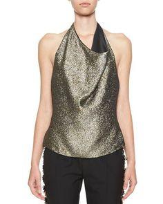 LANVIN Sand Lamé Drape-Front Halter Top, Black/Metallic Gold. #lanvin #cloth #