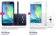"Samsung Galaxy A3 Duos Dual Chip Android 4.4 Tela 4.5"" 16GB 4G Câmera 8MP << R$ 64900 em 6 vezes >>"