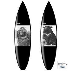 Surfboarddesign Single Element, Classic Animals 1Motivserie Classic AnimalsEinzelmotive: Bär oder Orang Utan.Darstellung aus 19th Jahrundert/Holzschnitt.Motive geeignet in Kombination mit schwarzem Pigment für Lamination/Glassing.FleeceOn™ Grafikvlies/Cloth