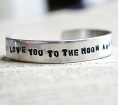 Toddler Bracelet I LOVE You To The MOON And Back Cuff Aluminum Childrens Jewelry Hand Stamped on Etsy, $16.75 AUD