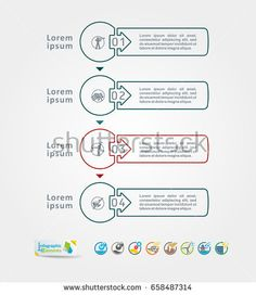 Collection of vector infographics elements. Templates for text, graph, presentation. Concept with options, parts, steps or processes.