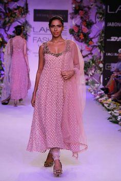 Shyamal & Bhumika Lakme Fashion Week Summer Resort 2014 Indian wedding pink churidar suit. More here - http://www.indianweddingsite.com/shyamal-bhumika-lakme-fashion-week-summer-resort-2014/