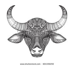 Patterned head of the bull. Hand drawn vector illustration in ornate doodle style. Taurus Star Sign, Taurus Art, Taurus Bull Tattoos, Animals With Horns, Henna Drawings, Fairy Coloring, Tattoo Stencils, Animal Coloring Pages, Lion Tattoo