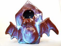 Birdhouse with fantastic blue glazed Japanese. Casetta di LabLiu, €30.00