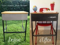 Such a neat and simple technique for refinishing metal furniture like this old school desk to make it look like Restoration Hardware (plus a video tutorial)