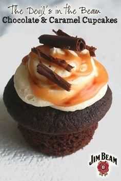 Jim Beam Chocolate and Caramel Cupcakes - burbon vanilla carmel sauce center..