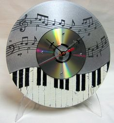 I want do this with a CD but not make it a clock and scrap it with my grandmother's old sheet music and her graduation photo from college as a music teacher.