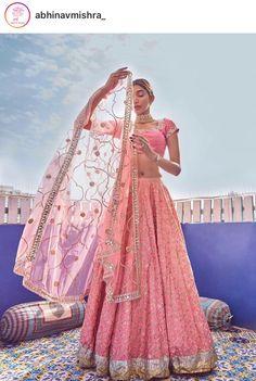 End Customization with Hand Embroidery & beautiful Zardosi Art by Expert & Experienced Artist That reflect in Blouse , Lehenga & Sarees Designer creativity that will sunshine You & your Party. Pink Lehenga, Bridal Lehenga, Lehenga Choli, Anarkali, Bollywood Lehenga, Bollywood Dress, Indian Bridal Outfits, Indian Dresses, Saris