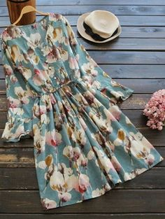 SHARE & Get it FREE | Floral Print Button Embellished Drawstring Dress - FloralFor Fashion Lovers only:80,000+ Items • New Arrivals Daily Join Zaful: Get YOUR $50 NOW!