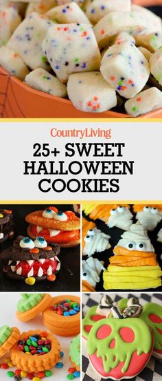 Save these sweet halloween cookie recipes for later by pinning this image and… #ad Halloween Desserts, Halloween Cookie Recipes, Halloween Cake Pops, Hallowen Food, Halloween Baking, Halloween Goodies, Halloween Food For Party, Holiday Baking, Halloween Halloween