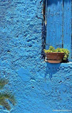 Blue window on blue wall (by Eleanna K.) - (posted on mykukula)
