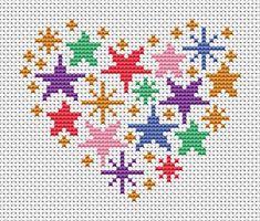 Heart cross stitch patterns counted cross by ClimbingGoatDesigns