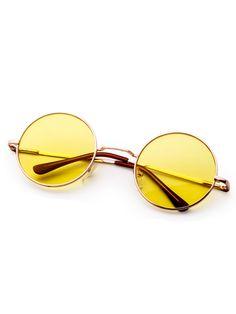 Metal Frame Yellow Round Lens Retro Style Sunglasses