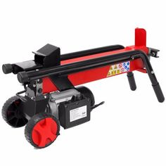 7 Ton Electrical Hydraulic Log Splitter Cutter 7 inch Mobile Wheels Red
