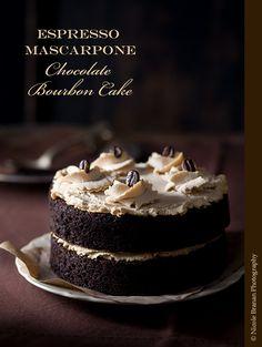 Espresso mascarpone chocolate Bourbon cake - Moist, creamy and full of flavor. | TheSpiceTrain.com