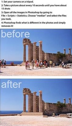 Delete tourists from your travel photos using Photoshop. I don't have Photoshop, but if I ever do, this will come in handy! Photo Hacks, Photo Tips, Picture Day Tips, Photo Ideas, Nice Picture, Travel Photos, Travel Tips, Travel Pictures, Travel Hacks