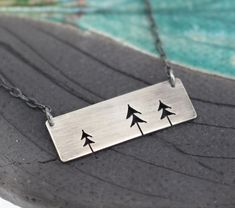 Three Open Pine Trees rectangle bar sterling pendant by silentgoddess Back Jewelry, Jewelry Tree, Enamel Jewelry, Metal Jewelry, Silver Jewellery, Bling Jewelry, Jewelery, Earrings Handmade, Handmade Jewelry