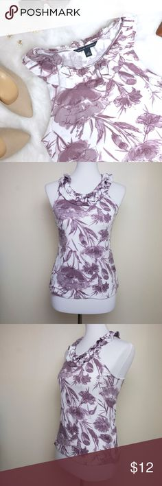 """Banana Republic • Ruffle Collar Floral Print Tank This super soft and stretchy tank is the definition of work-to-drinks chic. Design is intentionally a sort of watercolor/faded look, but there IS some piling - please check the photos! It's not very visible unless you're looking for it. Approximate measurements laying flat: pit to pit 15, waist 15.5"""", shoulder to hem 23.5"""". From the retail store; not the Factory line. Banana Republic Tops Tank Tops"""