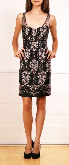 damask-print sheath dress with bodice seaming