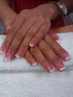 Dark Pink and White acrylic nails