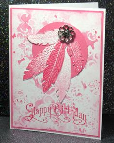 """Four Feathers, Perfectly Penned  Paper: Regal Rose, Whisper White  Ink: Pink Pirouette, Regal Rose  Accessories: 2 1/2"""" circle punch, Vintage Wallpaper EF, Filigree Brads Techniques: embossing folder stamping"""