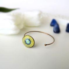 EARTH MANDALA Brass Cuff Bracelet Green Mandala Bracelet Adjustable Bracelet Mandala Art Print Boho Bracelet Mandala Jewelry Gift for Women