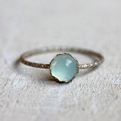 Blue chalcedony gemstone ring by PraxisJewelry on Etsy