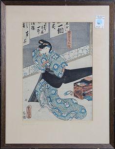 "Utagawa Toyokuni III (Japanese, 1786-1865), 19th century, 'Danshichi nyobo Okaji', woodblock print of a kabuki play, lower left with the signature/seals, sight: 13.25""h x 9.5""w, frame: 20""h x 15.25""w"