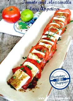 Nothing says summer get togethers with family and friends like Tomatoes!  The only thing that could make summer juicy tomatoes better is pairing them with fresh Mozzarella and drizzling them with balsamic vinegar dressing.  I have made this Tomato and Mozzarella Easy Appetizer so many times that I