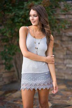 Solid Lace Crochet Shirt/Dress Extender Tank Top (H. Grey) - NanaMacs.com - 1
