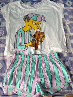 the simpsons underwear sleep burns pyjama shorts teddy bear shirt simpsons t-shirt blue pajamas mr. Grunge Look, Grunge Style, 90s Grunge, Soft Grunge, Cute Pjs, Cute Pajamas, Simpsons Shirt, The Simpsons, Mint Green Shirts