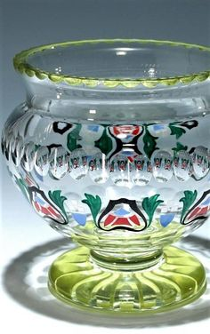 A big footed bowl Fachschule Zwiesel circa 1920 Crystal mouthblown glass. Foot and top rim bright green stained after the cut. Bright Green, Shot Glass, Enamel, Base, Ceramics, Star, Crystals, Decoration, Tableware