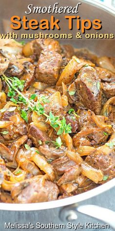 Steak Tips, Steak Recipes, Cooking Recipes, Beef Dishes, Food Dishes, Main Dishes, Food Food, Smothered Steak, Mushroom And Onions