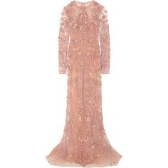 Zuhair Murad Embellished silk-tulle gown (€10.155) ❤ liked on Polyvore featuring dresses, gowns, zuhair murad, pastel pink, pink tulle gowns, red sequin dress, red gown, pastel pink dress and sequin gown