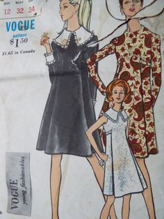 Vintage 1960s Vogue Mod Feature Collar Mini Dress Sewing Pattern B 32