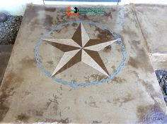 Concrete overlay Texas star Design with barbed wire on patio by Texoma Concrete Effects, Wichita Falls, TX.