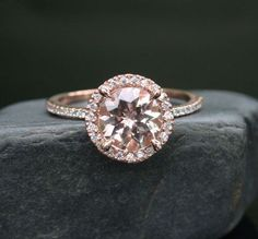 Single Halo 14k Rose Gold 8mm Morganite Round by Twoperidotbirds, $695.00