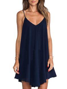 robe asymétrique à bretelle -bleu marine -French SheIn(Sheinside)