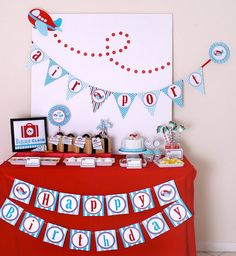 Birthday Airplane Party Decorations & Ideas - Kara's Party Ideas - The Place for All Things Party Happy Birthday B, First Birthday Parties, Birthday Party Themes, 2nd Birthday, First Birthdays, Birthday Ideas, Planes Birthday, Planes Party, Airplane Baby Shower