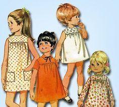 1960s-ORIGINAL-Sweet-Toddlers-High-Yoke-Dress-Pattern-Sz-6