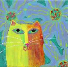 Abstract Cat Portrait Yellow Cat with Flowers Hand by jackieludtke, $40.00